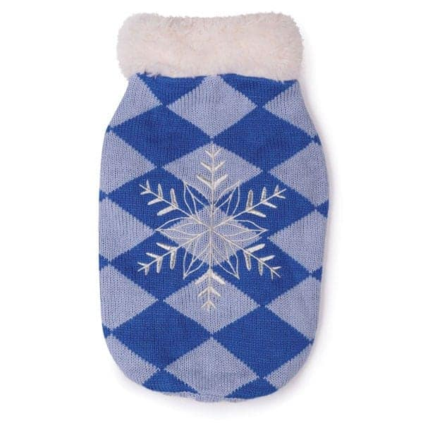 Blue Snowflake Snuggler Dog Sweater