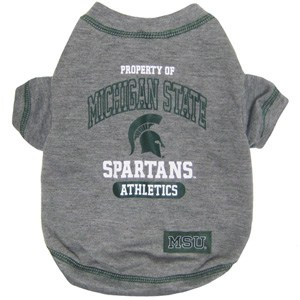 Michigan State Dog Tee Shirt - Gray