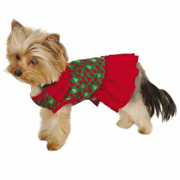 Red & Green Festive Holiday Houndtooth Dog Dress