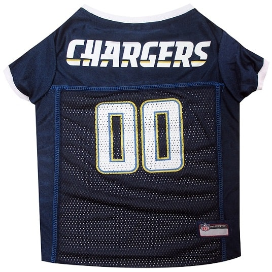 San Diego Chargers Dog Jersey White Trim
