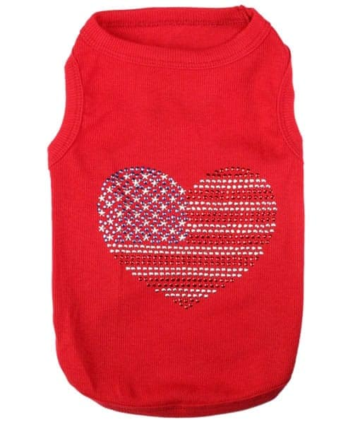 USA Flag Jeweled Dog Shirt
