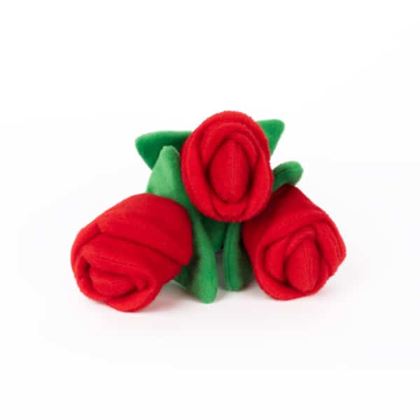 Red Roses Flower Bouquet Dog Toy