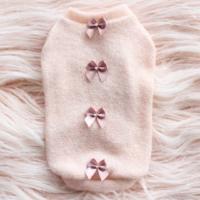Luxury Dainty Bow Dog Sweater Peach